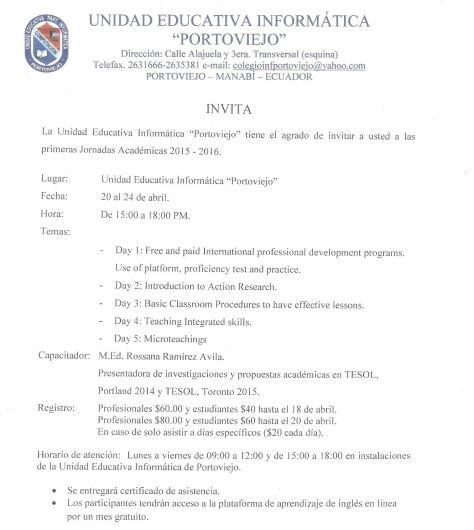 Invitación a Jornadas Académicas 001